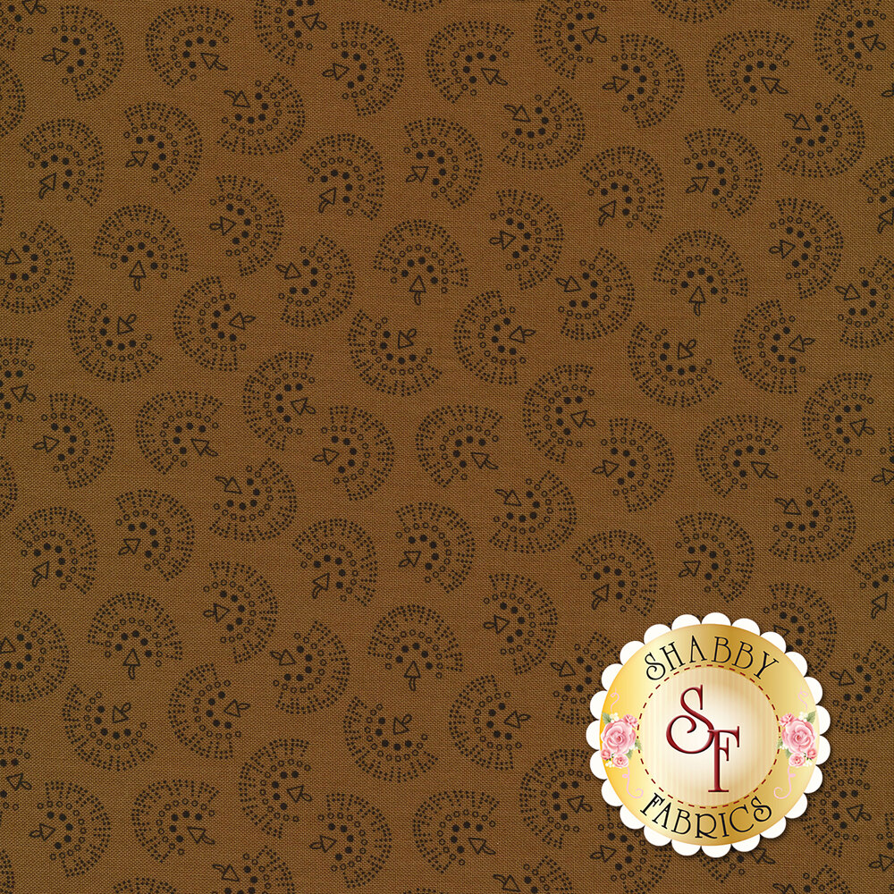 Brown tonal tossed geometric prints   Shabby Fabrics