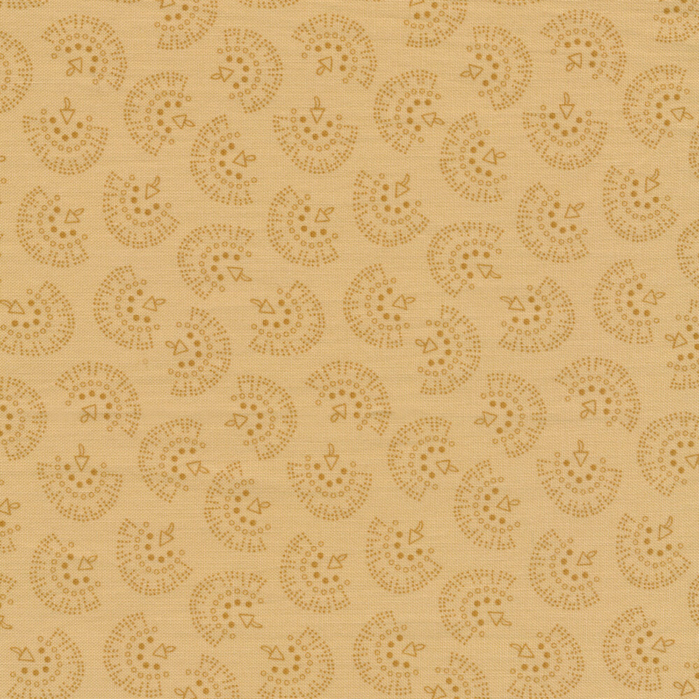 Tan tonal tossed geometric prints | Shabby Fabrics