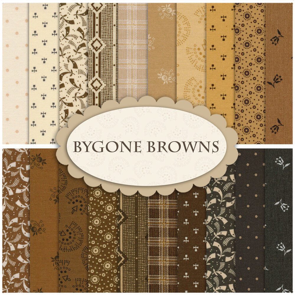 A collage of fabric from the Bygone Browns collection
