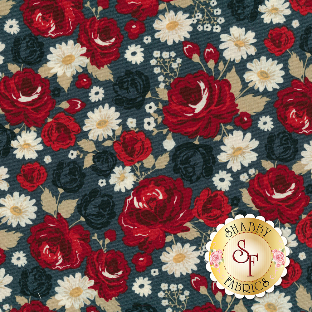 Red, blue, and cream flowers all over blue | Shabby Fabrics