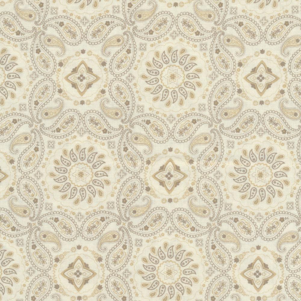 Cream bandana paisley design   Shabby Fabrics