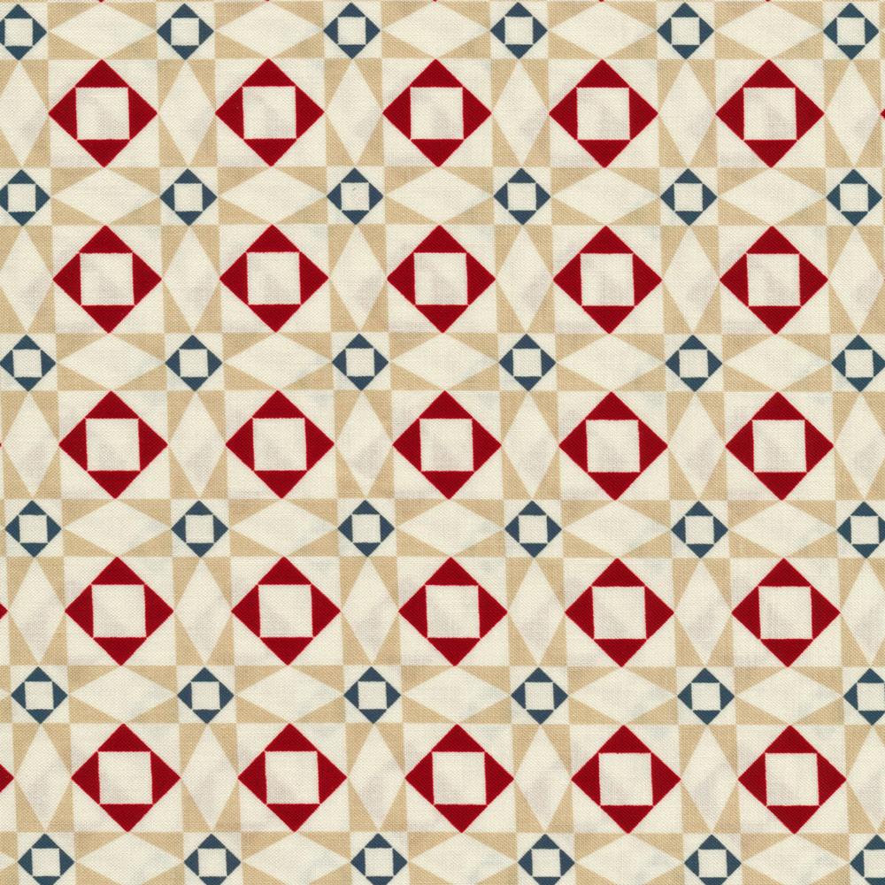 Cream geometric star design | Shabby Fabrics