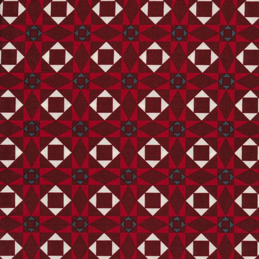 Red geometric star design | Shabby Fabrics