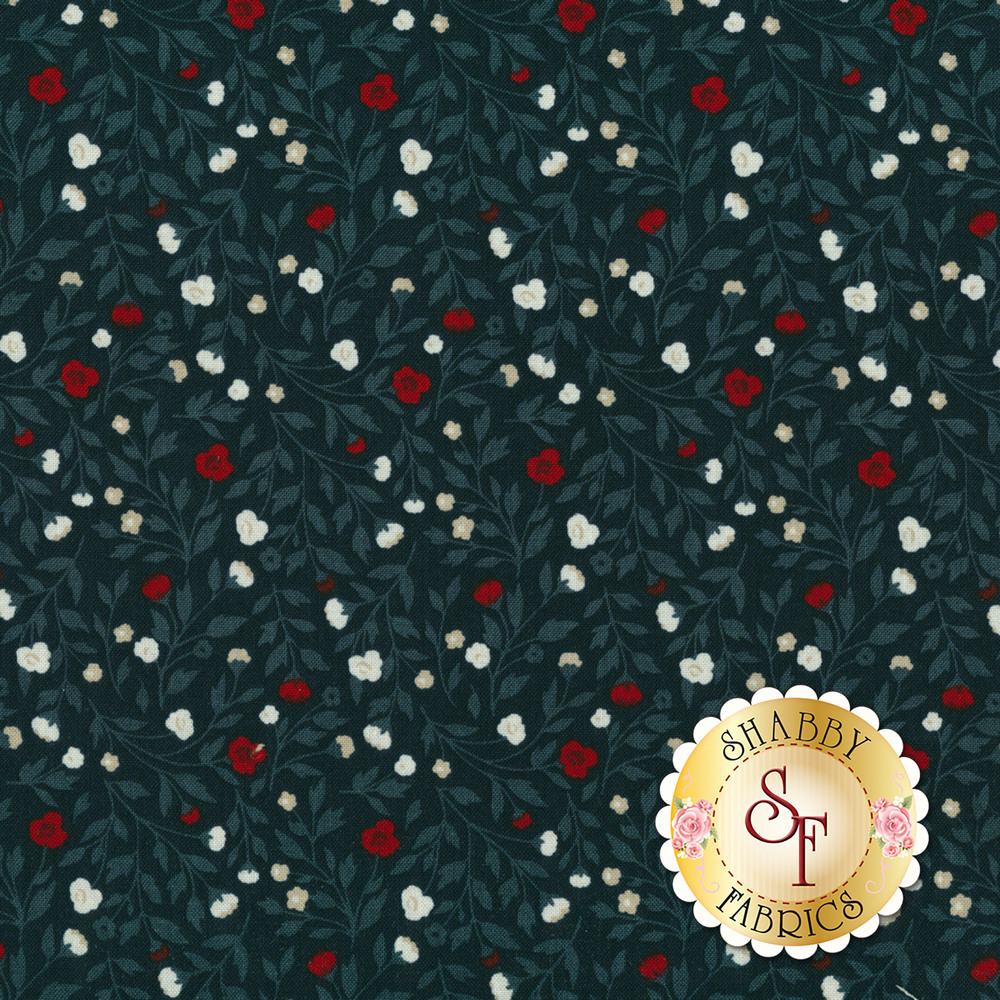 Small red flowers with tonal blue leaves all over blue | Shabby Fabrics
