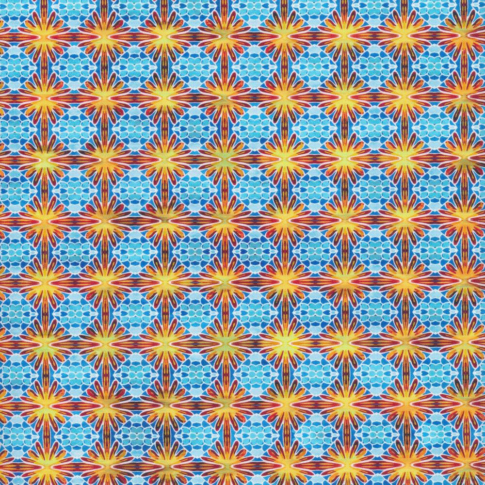 Bright blue and orange geometric print