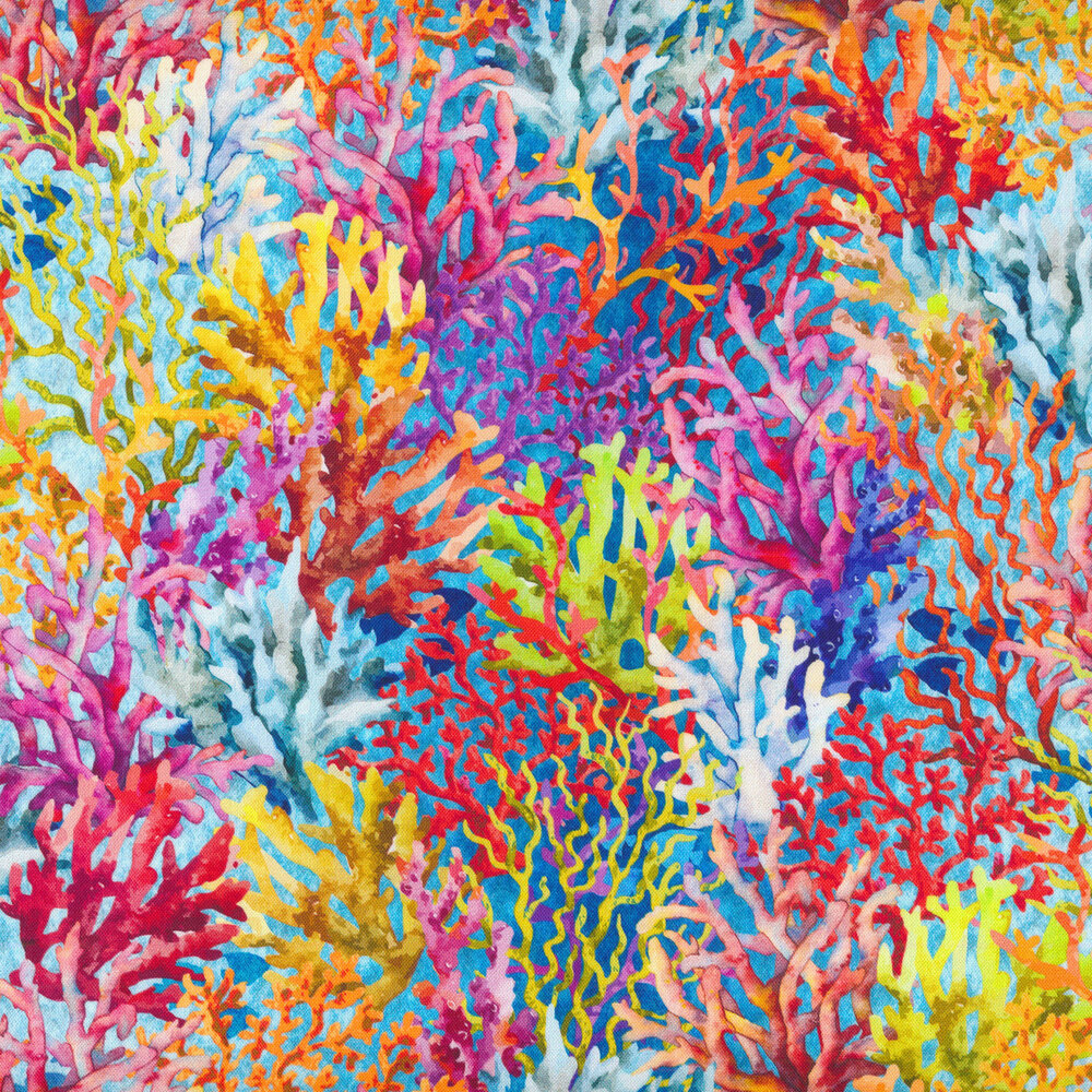 Bright coral print on a blue background