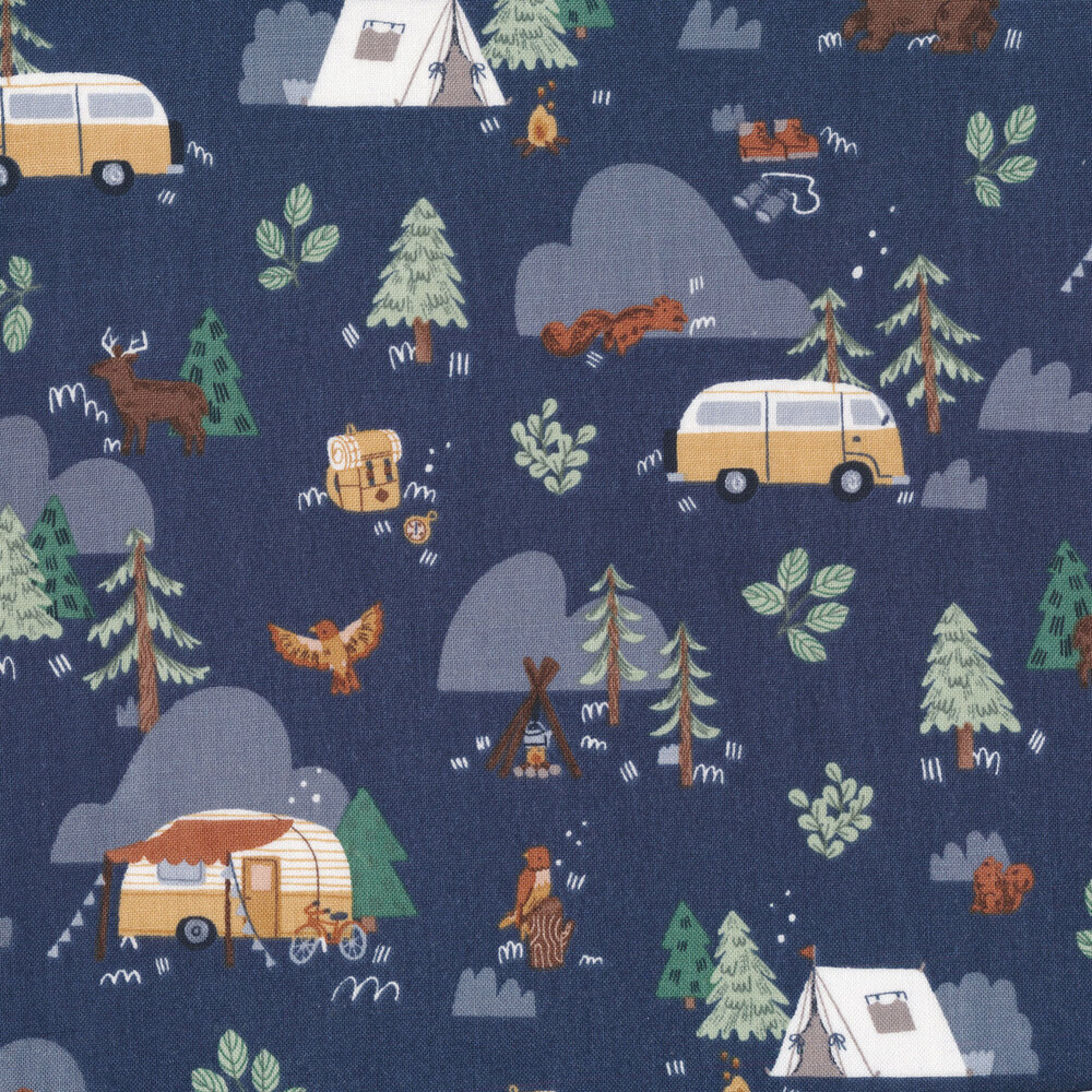 Campers and animals all over navy | Shabby Fabrics
