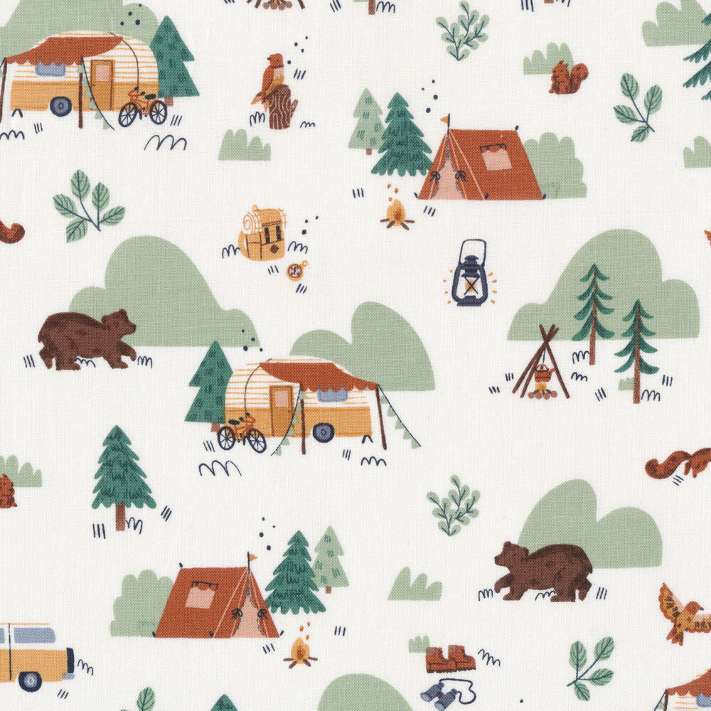 Campers and animals all over off white | Shabby Fabrics