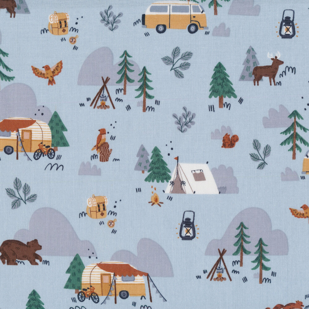 Campers and animals all over light blue | Shabby Fabrics