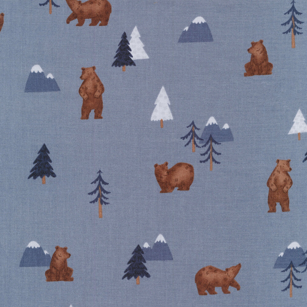 Bears, trees, and mountains all over blue | Shabby Fabrics