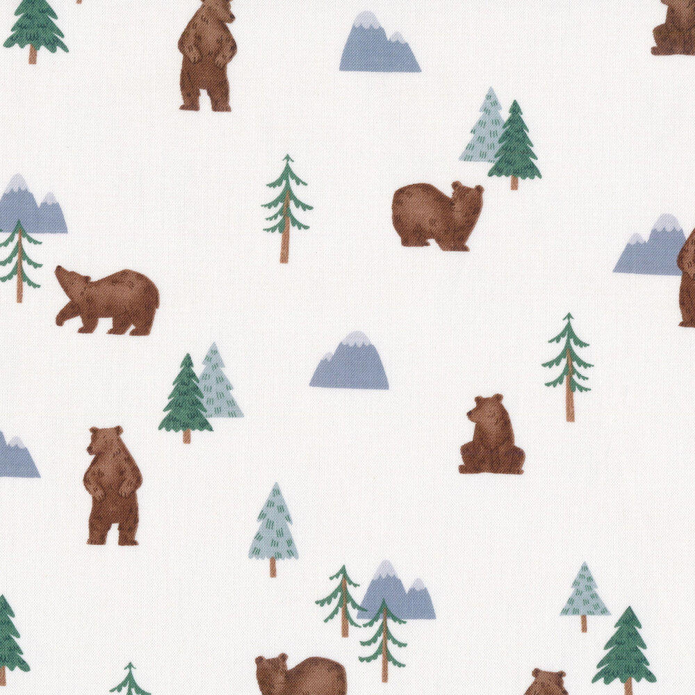 Bears, trees, and mountains all off white | Shabby Fabrics
