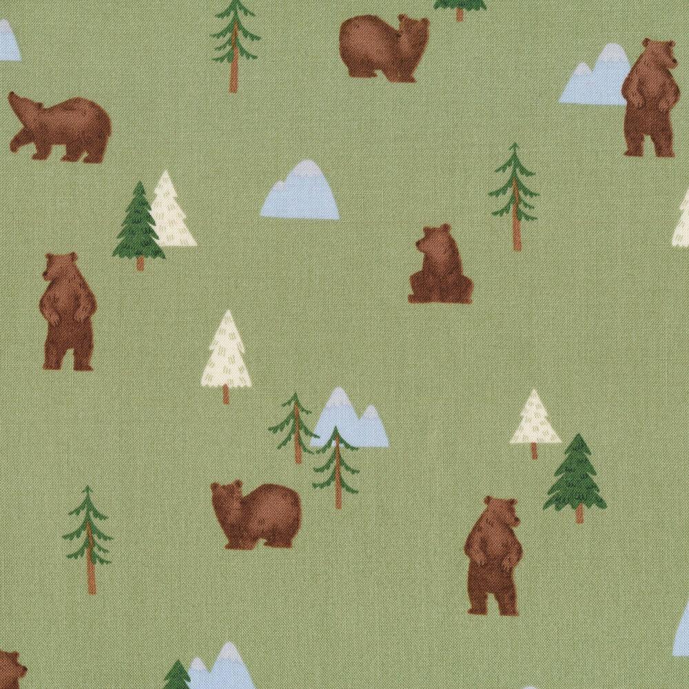 Bears, trees, and mountains all green | Shabby Fabrics