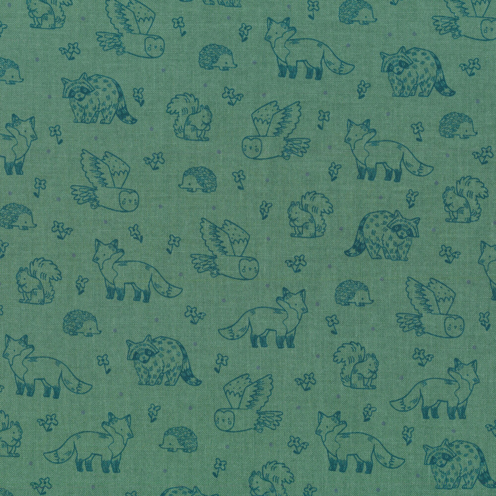 Orange woodland creatures all over green | Shabby Fabrics