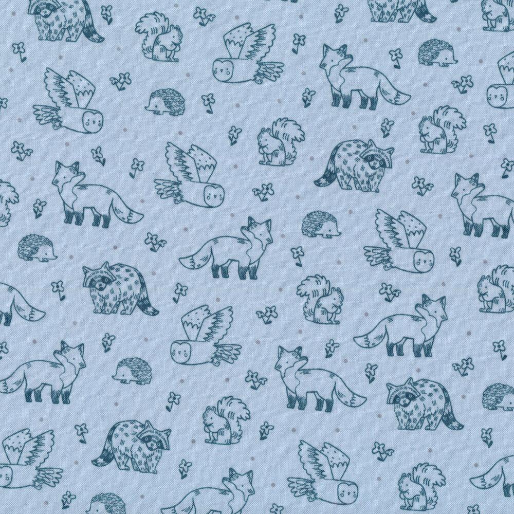Orange woodland creatures all over blue | Shabby Fabrics
