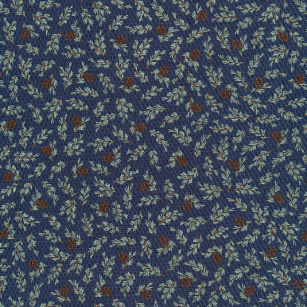 Tossed branches and pine cones on navy | Shabby Fabrics