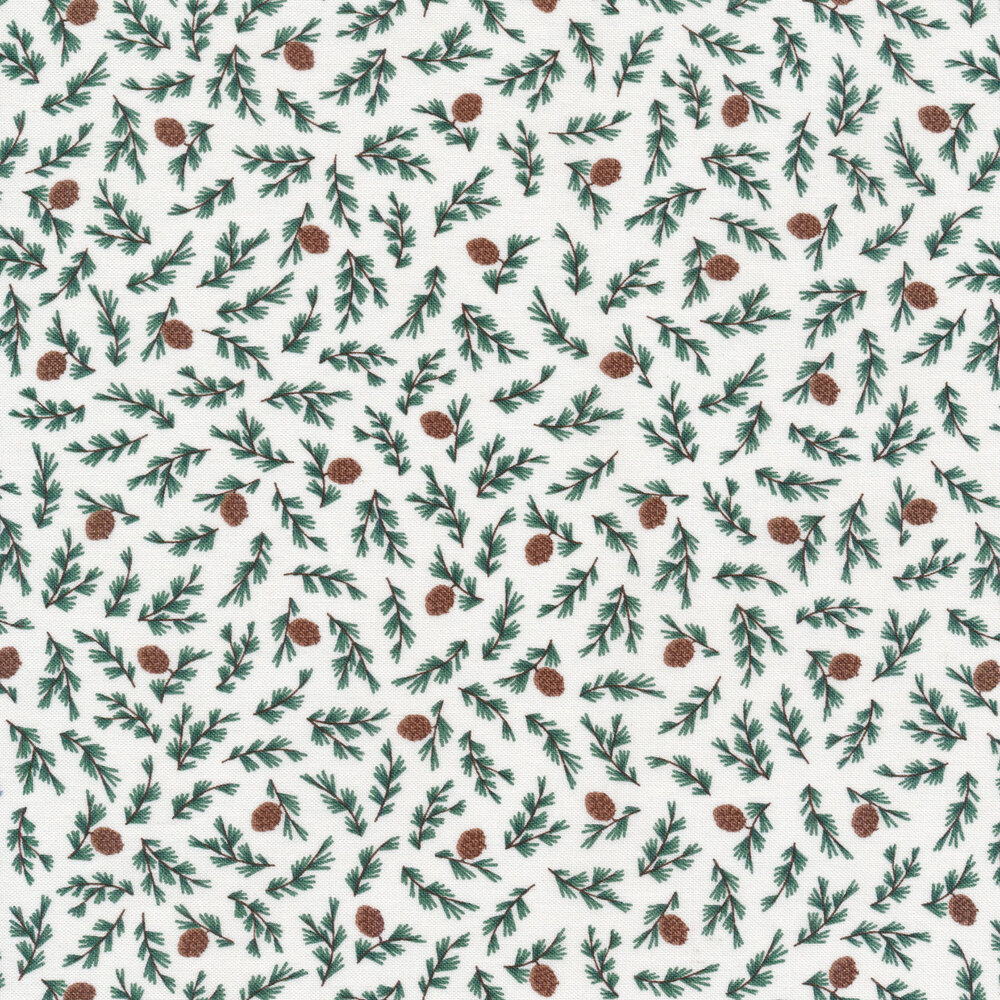 Tossed branches and pine cones on off white | Shabby Fabrics