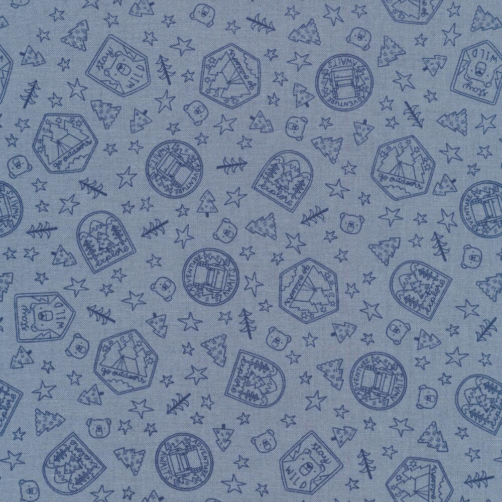 Tonal blue badge print | Shabby Fabrics