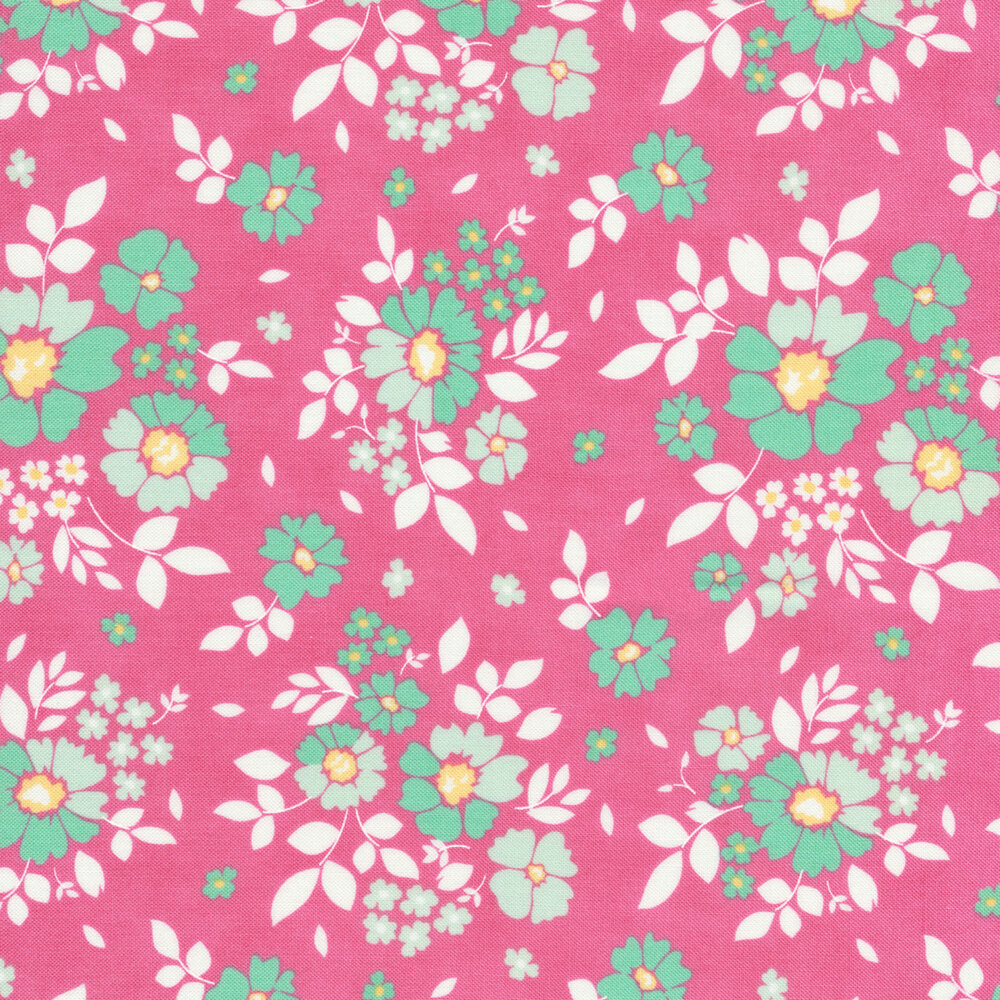 Aqua and white flowers tossed on petal pink | Shabby Fabrics