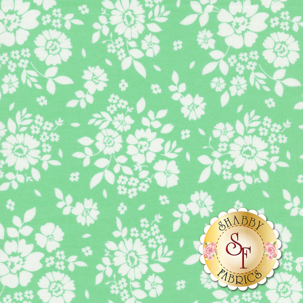 White flowers on an aqua background | Shabby Fabrics