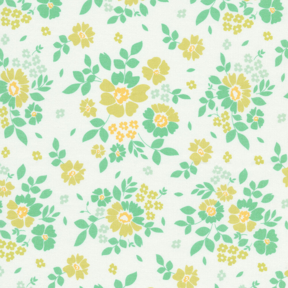 Green and aqua flowers on a white background | Shabby Fabrics