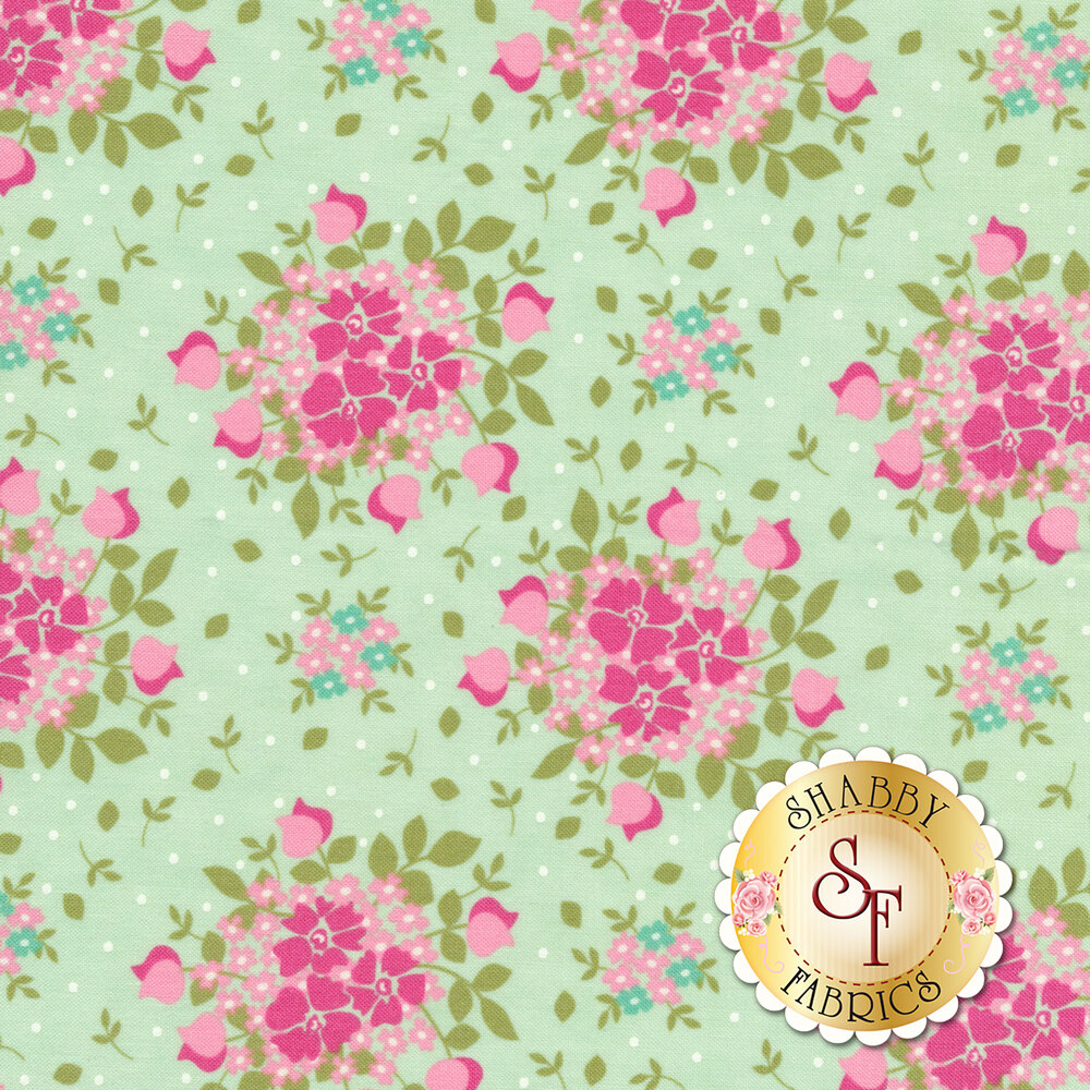 Pink flower bouquets with white dots all over aqua | Shabby Fabrics