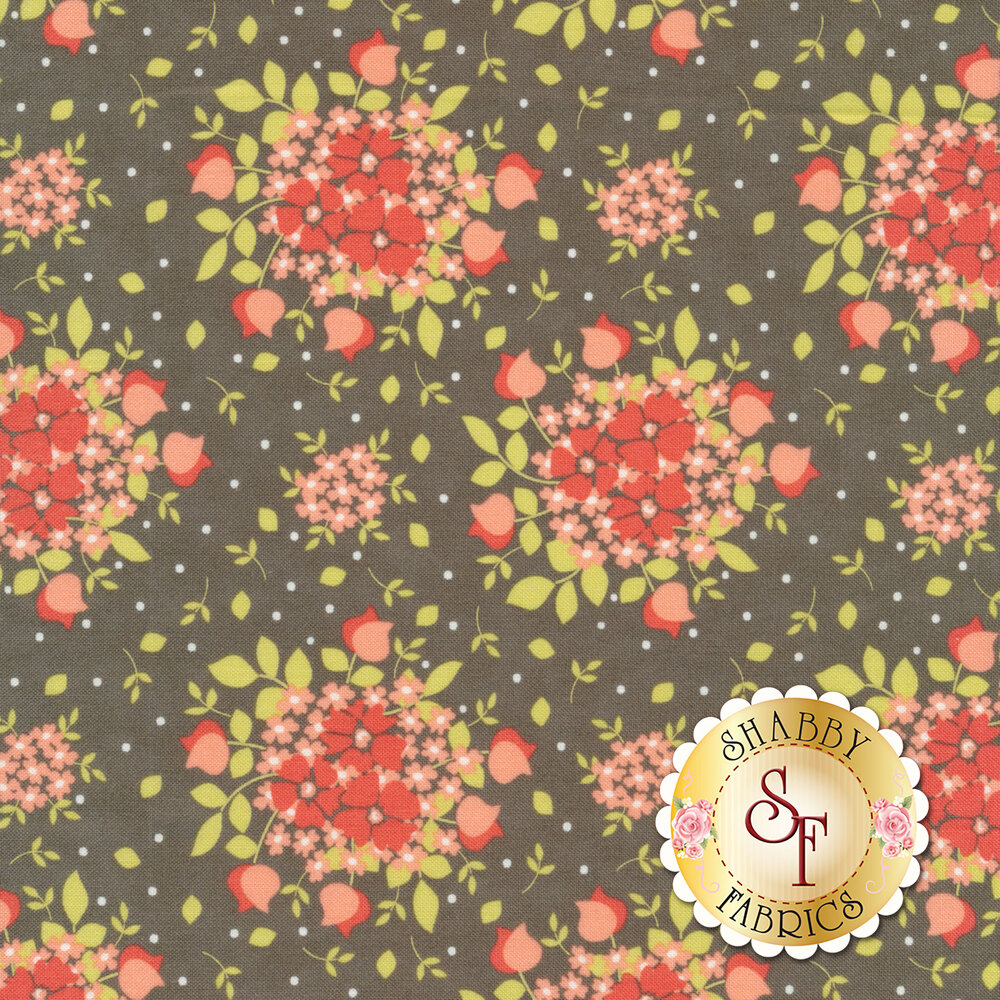 Red and pink flower bouquets with white dots on gray | Shabby Fabrics