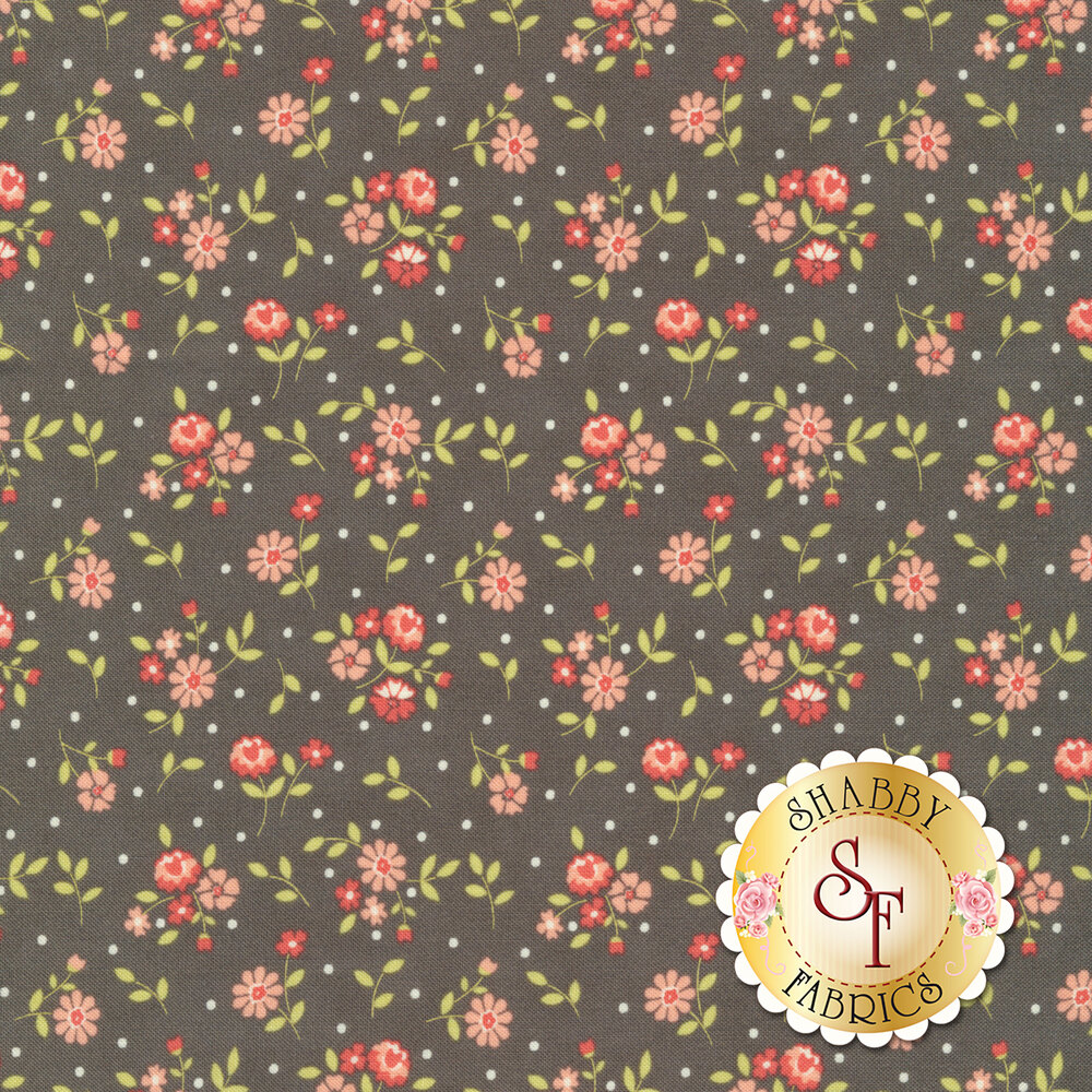 Small pink and red flowers tossed on gray with scattered white dots | Shabby Fabrics
