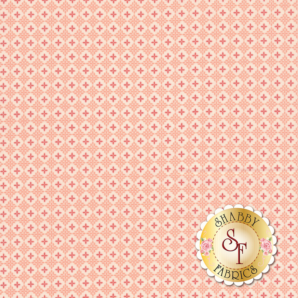 Red plus signs in white circles all over pink background | Shabby Fabrics