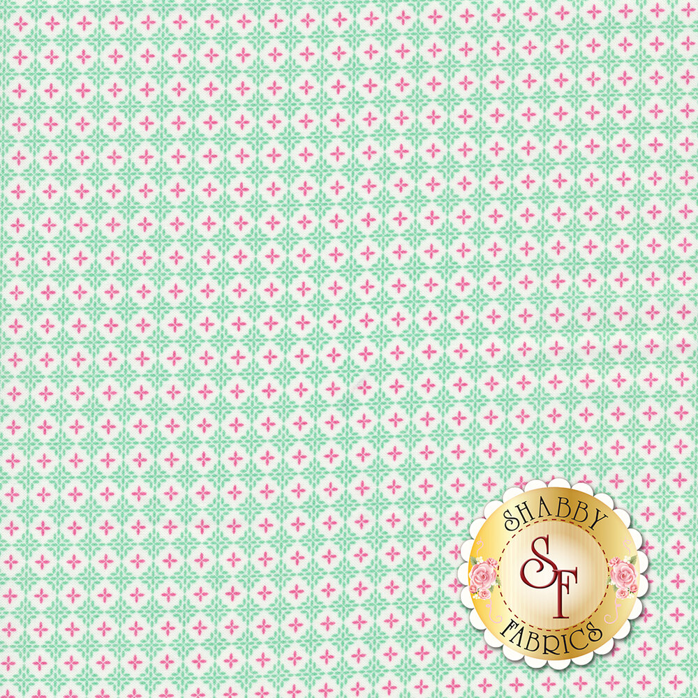 Purple plus signs in white circles all over aqua background   Shabby Fabrics