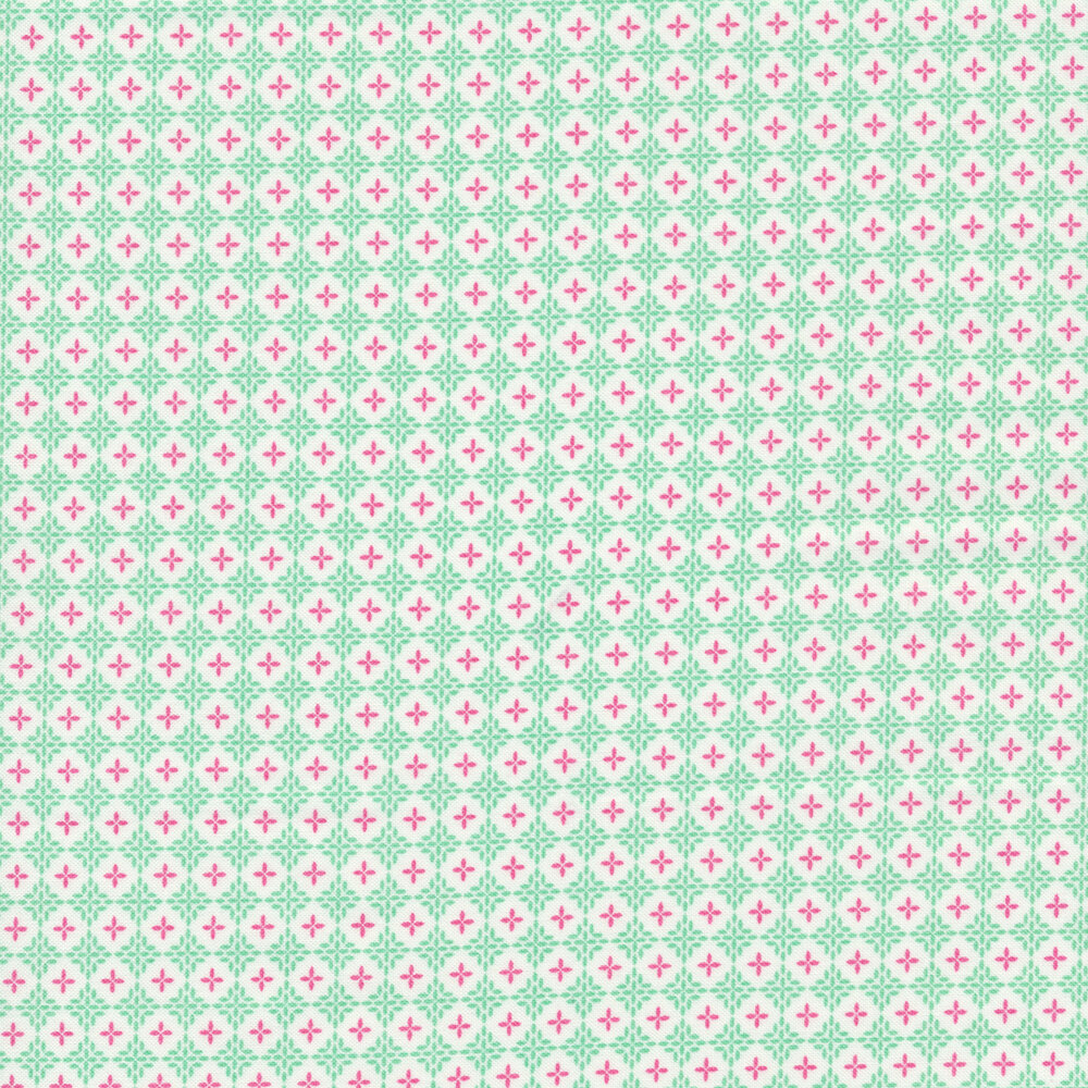 Purple plus signs in white circles all over aqua background | Shabby Fabrics