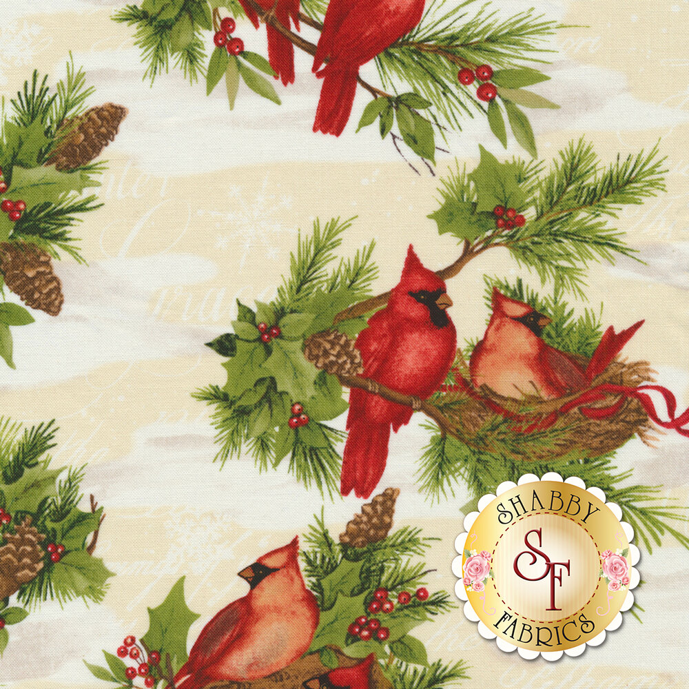 Red cardinals and Christmas foliage in snow on cream | Shabby Fabrics