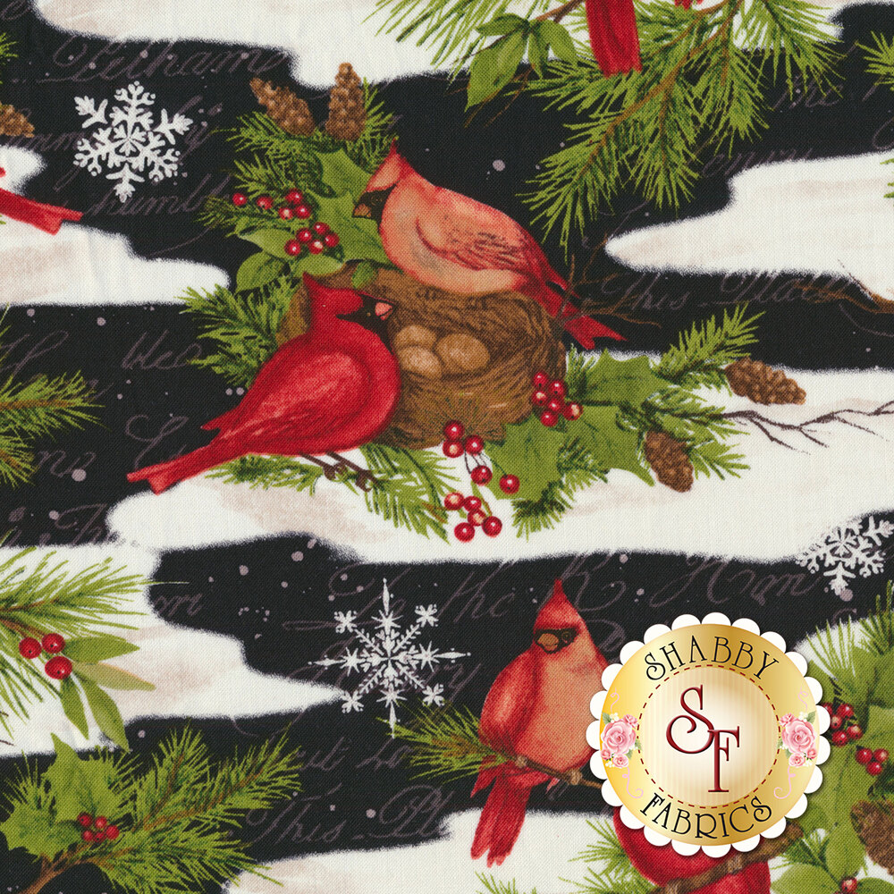 Red cardinals and Christmas foliage in snow on black | Shabby Fabrics