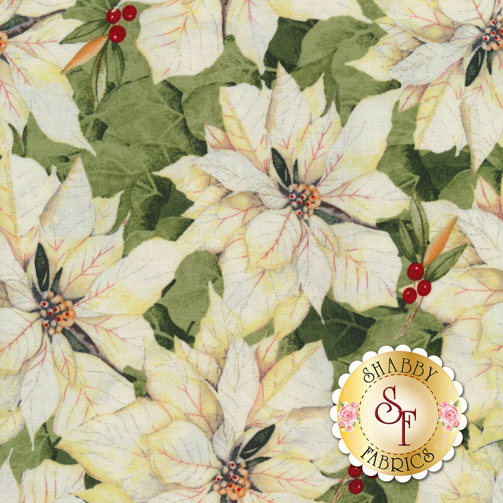 Cream poinsettias with green leaves | Shabby Fabrics