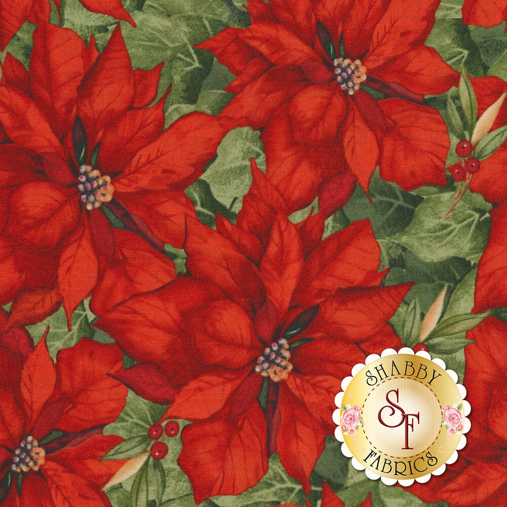 Red poinsettias with green leaves | Shabby Fabrics