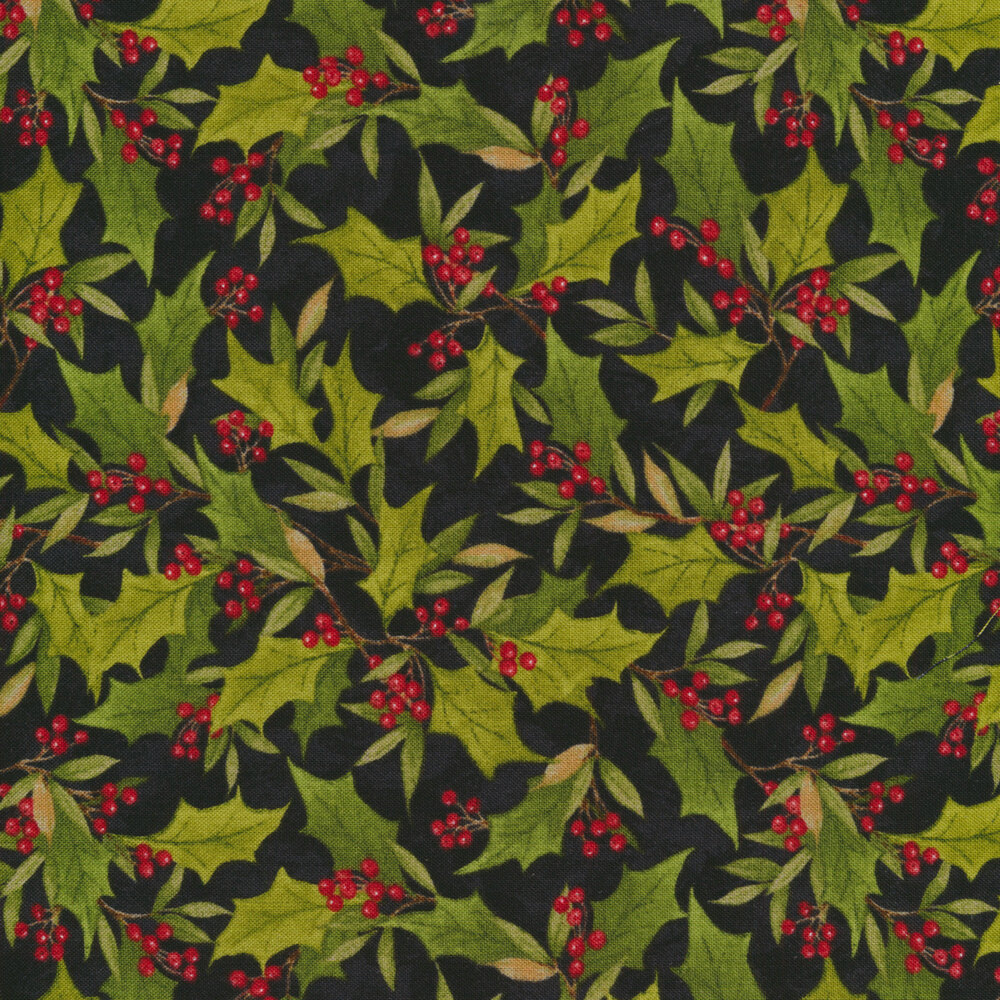 Holly all over black | Shabby Fabrics