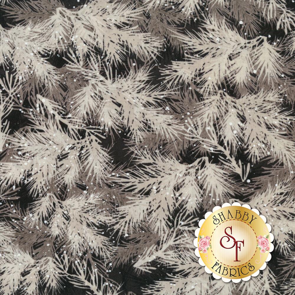 Tonal gray pine needles and foliage on black | Shabby Fabrics