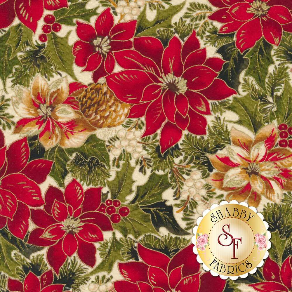 Red and cream poinsettias with green leaves on cream   Shabby Fabrics