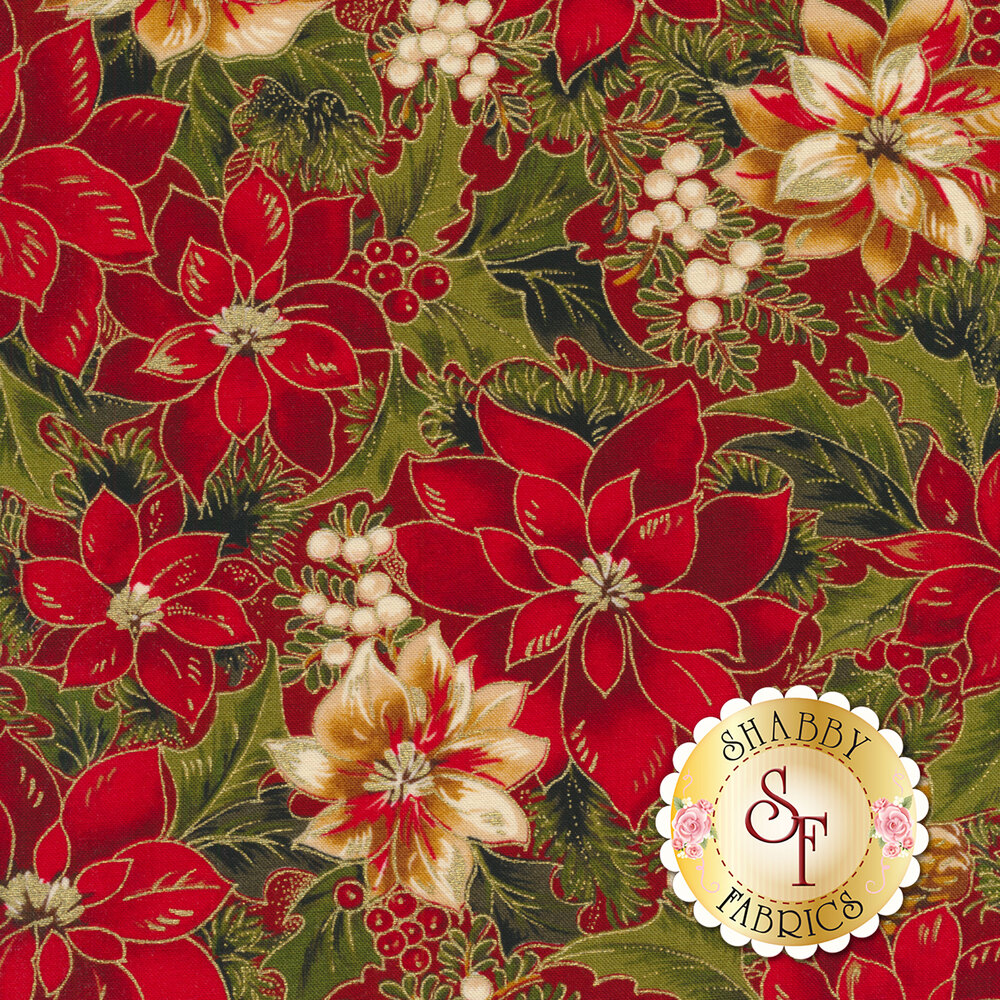 Red and cream poinsettias with green leaves all over red | Shabby Fabrics