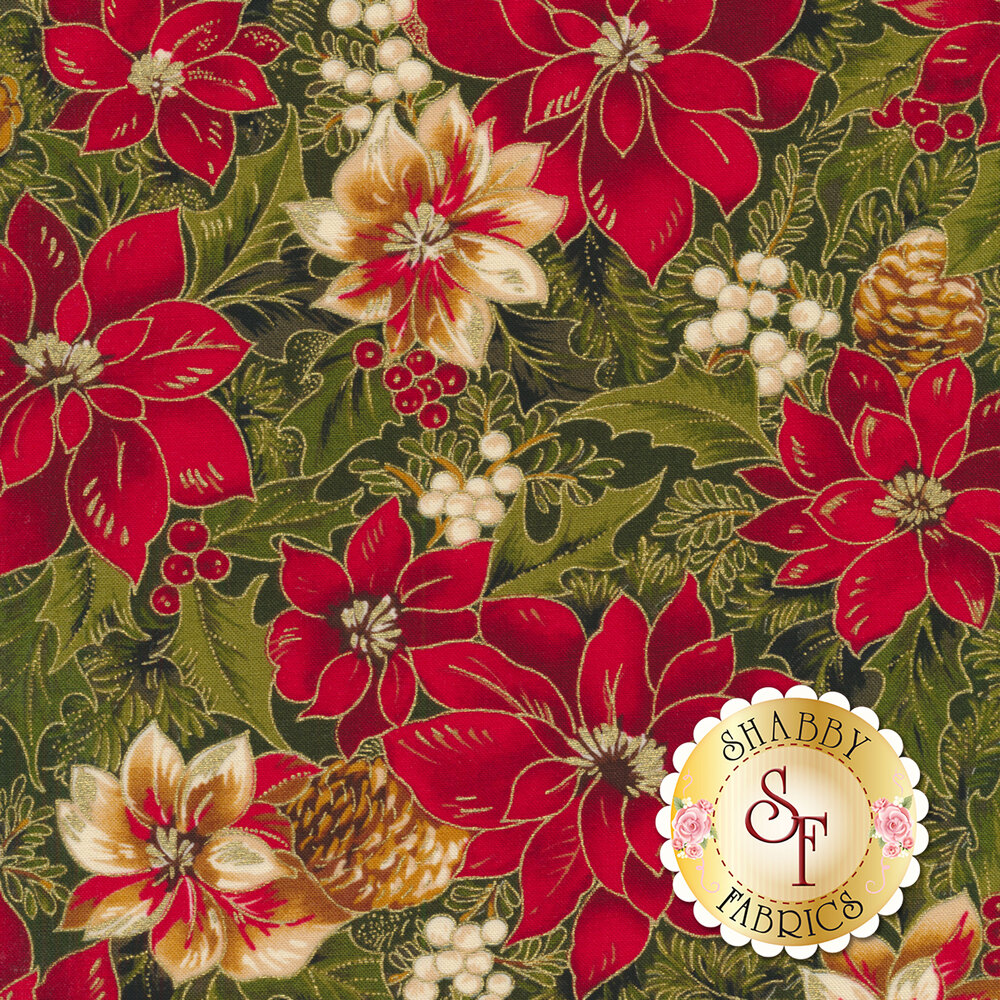 Red and cream poinsettias with green leaves all over green | Shabby Fabrics