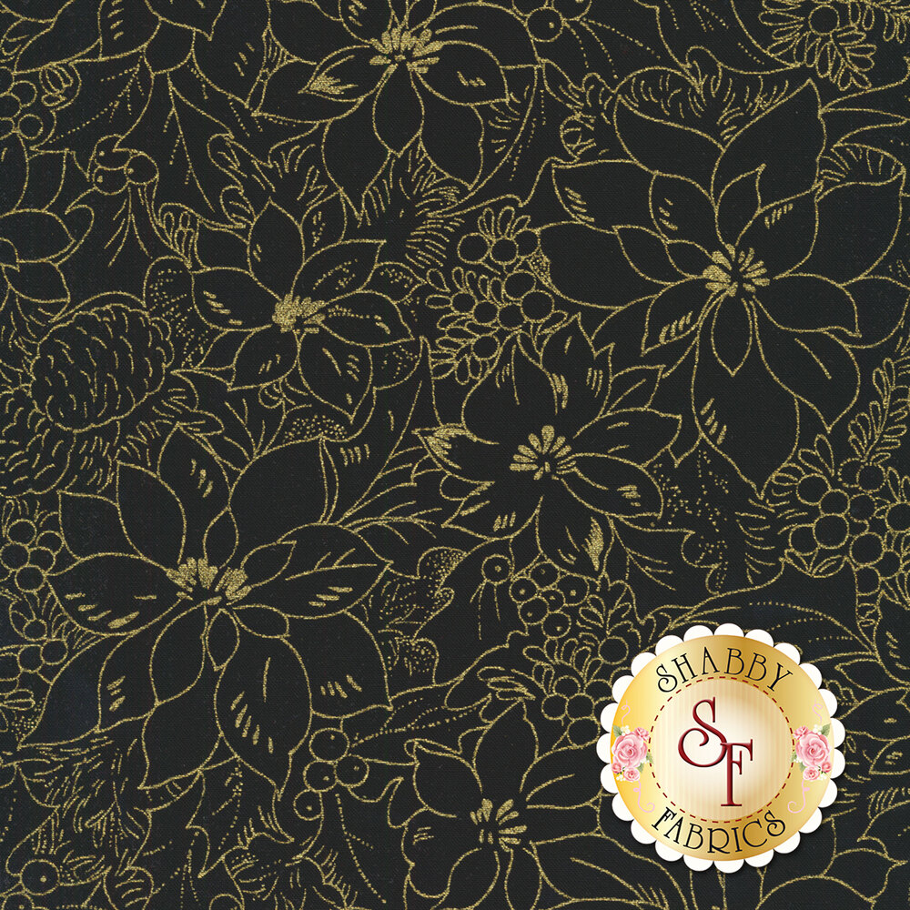Metallic gold poinsettia designs on black | Shabby Fabrics