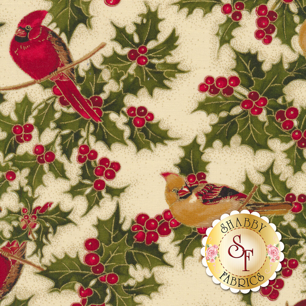 Red and gold cardinals on branches with holly and berries on cream | Shabby Fabrics
