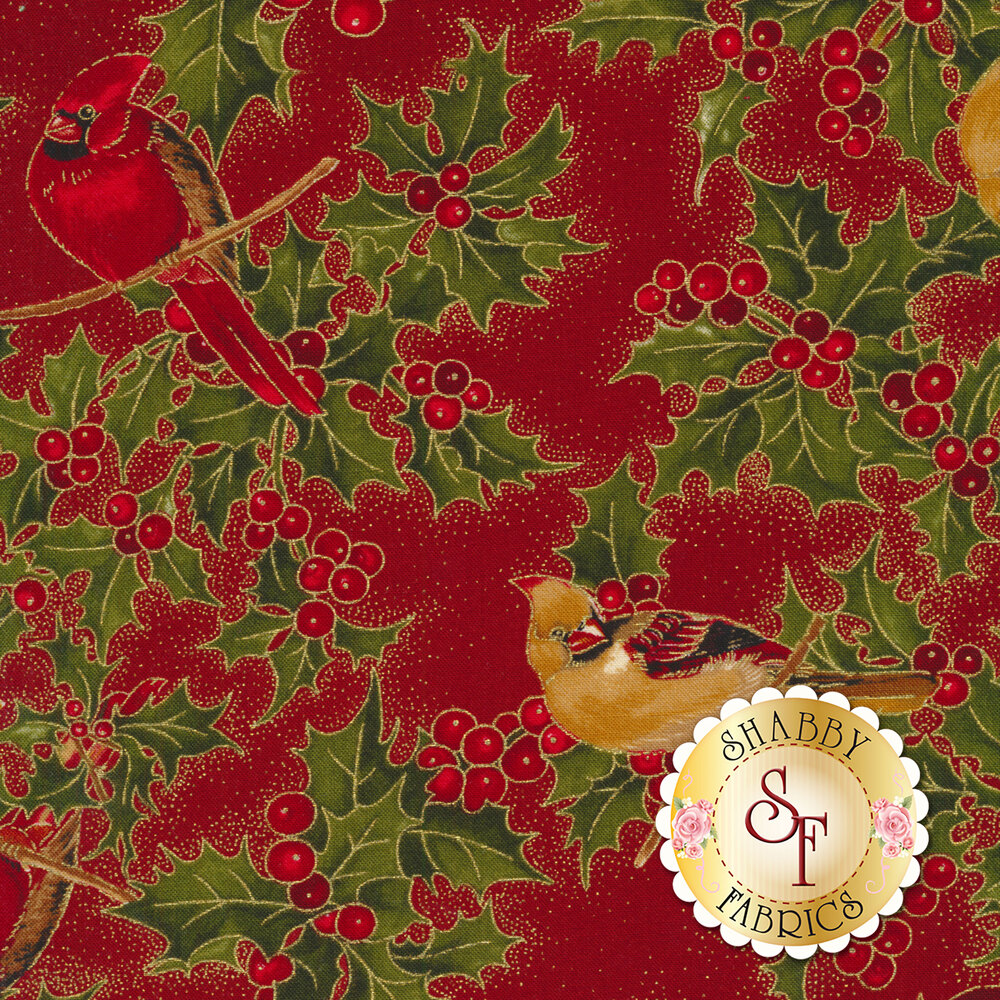 Red and gold cardinals on branches with holly and berries on red | Shabby Fabrics