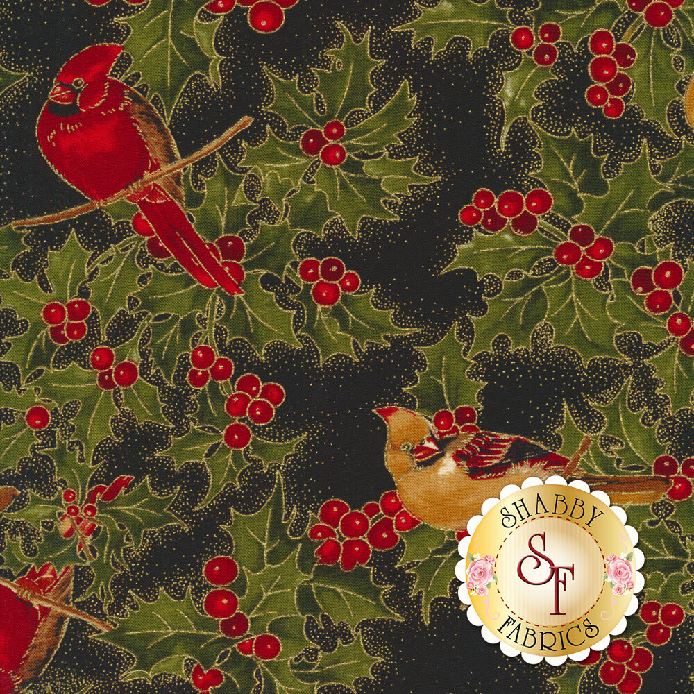 Red and gold cardinals on branches with holly and berries on black | Shabby Fabrics