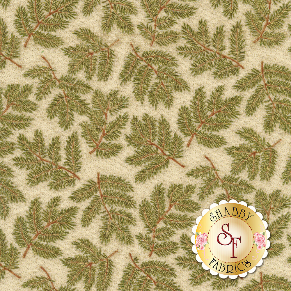 Green pine needles and branches on textured cream | Shabby Fabrics
