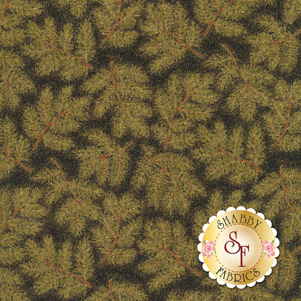 Green pine needles and branches on textured black   Shabby Fabrics