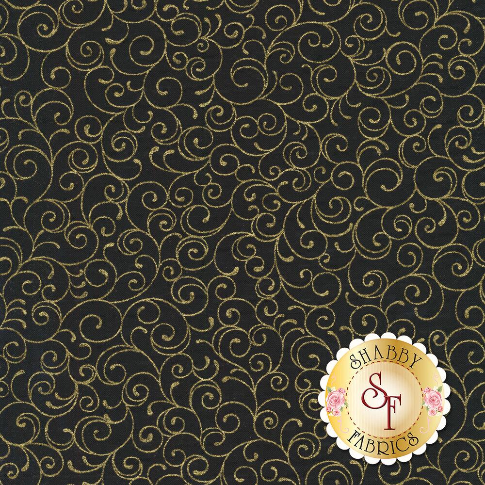 Gold metallic scrolls all over black   Shabby Fabrics