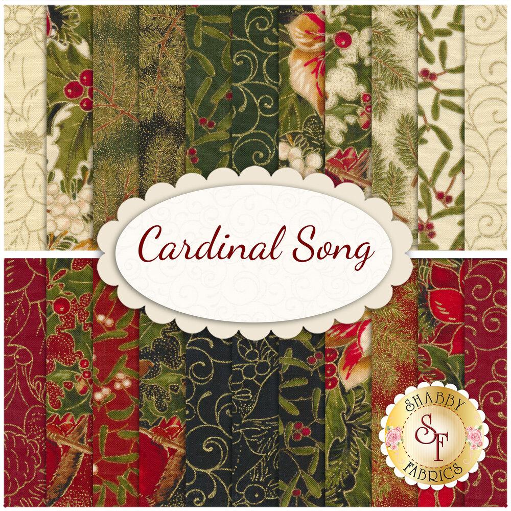 Collage of the fabrics in Cardinal Song Metallic FQ Set | Shabby Fabrics