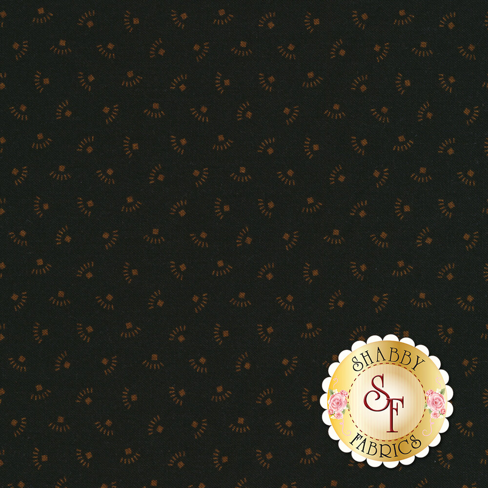Tossed golden ditsy geometric shapes on a black background | Shabby Fabrics