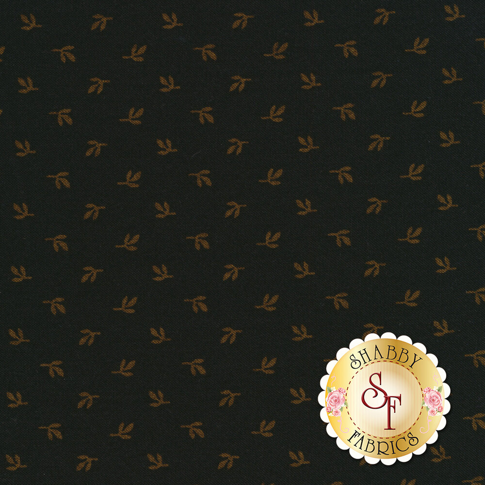 Tossed gold leaves on a black background | Shabby Fabrics
