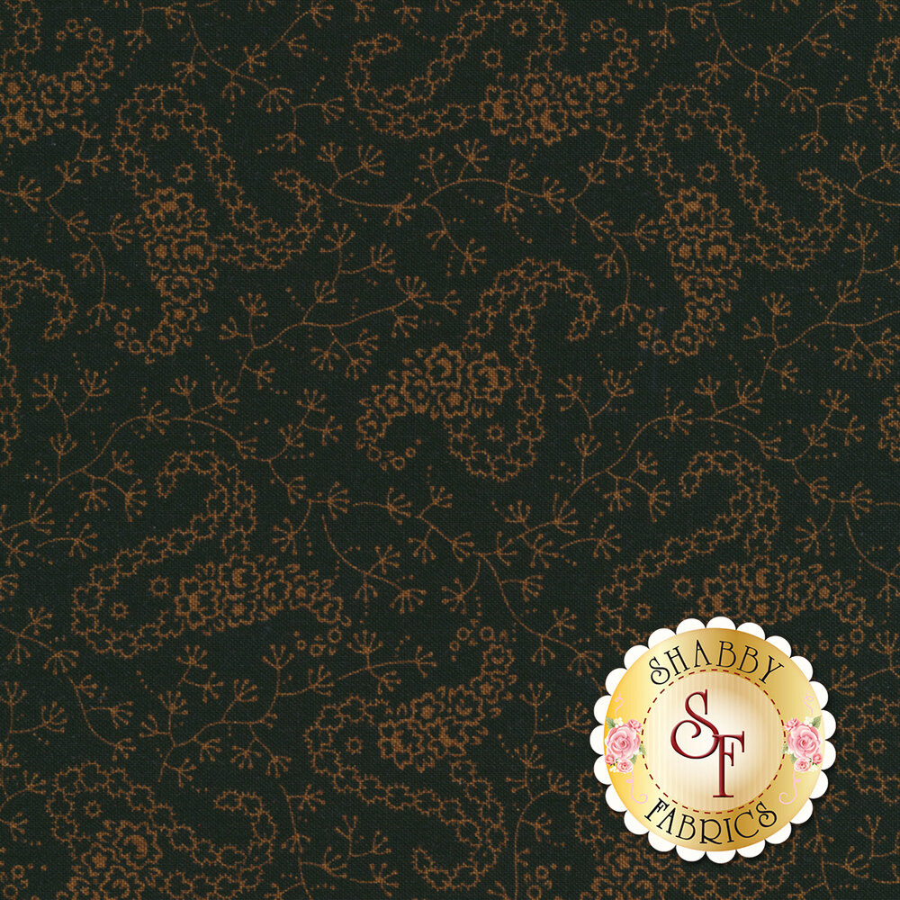 Small crossed paisleys surrounded by flowers on a black background | Shabby Fabrics